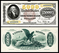 $5,000 Legal Tender note proof, Series 1878, Fr.188, depicting James Madison.