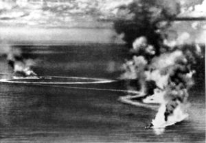 British heavy cruisers HMS Dorsetshire and Cornwall under Japanese air attack and heavily damaged on 5 April 1942