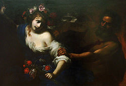 Painting showing Pesephone fleeing Hades. She is covered in flowers and bathed in light from the left-hand side of the painting. Hades emerges from the darkness on the right-hand side of the work. Only the outlines of his body, arm, and head can be seen. He is pulling of her blouse, revealing her upper body.