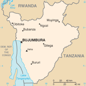 tan color map of Burundi with cities
