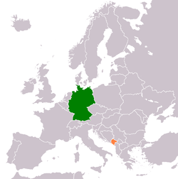 Map indicating locations of Germany and Montenegro