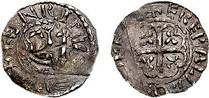 A photograph of a Prince Henry silver penny coin