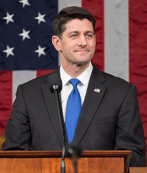 Paul Ryan's official Speaker photo. In the background is the American Flag.