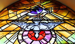 Stained glass, Holy Family Church, Teconnaught, September 2010 crop.jpg