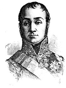 Black and white engraving of a man in a fancy military uniform of the early 1800s