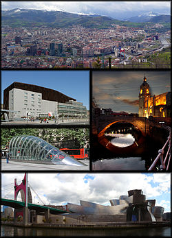 Clockwise from top: Panorama from mount Artxanda, Church of San Antón, Bilbao Guggenheim Museum, a fosterito, and the Euskalduna Palace