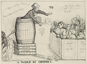 "Caricature of a man preaching out of a barrel labelled ""Fanaticism"", stacked up on books labelled ""Priestley's works"" to a crowd, while the devil sneaks up on him."