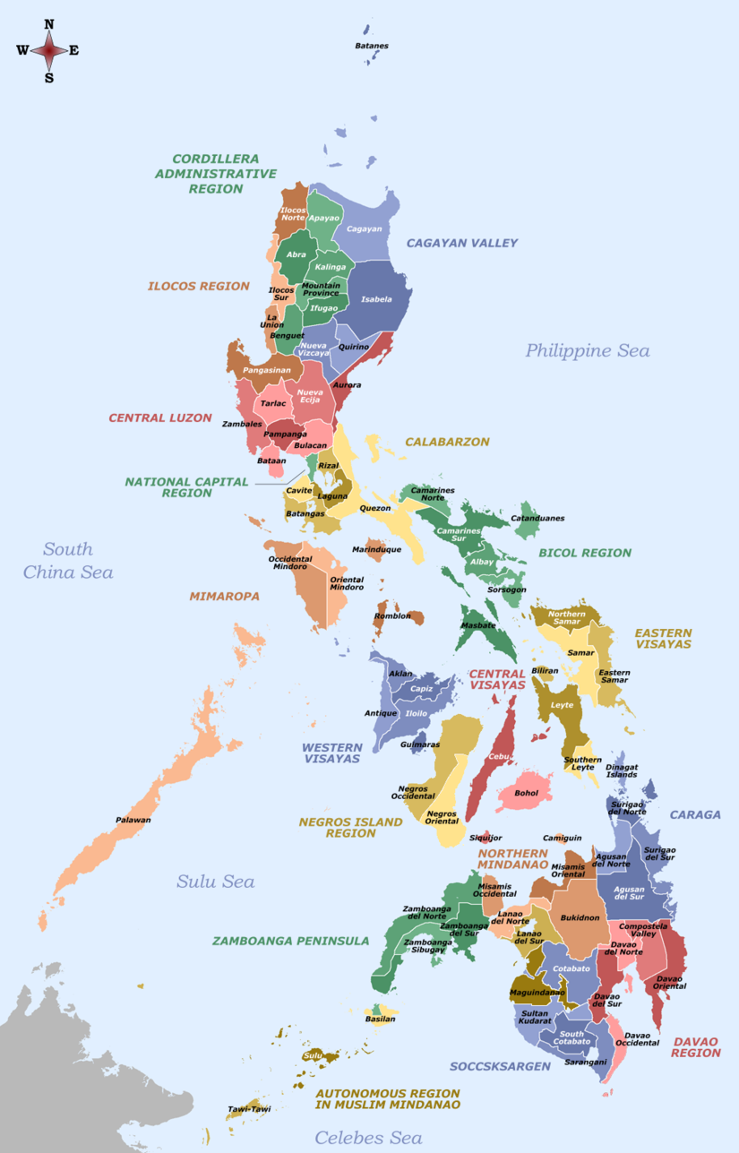Labelled map of the Philippines - Provinces and Regions.png