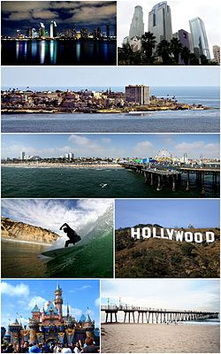 Southern CaliforniaImages top from bottom, left to right: San Diego Skyline, Downtown Los Angeles, Village of La Jolla, Santa Monica Pier, Surfer at Black's Beach, Hollywood Sign, Disneyland, Hermosa Beach Pier