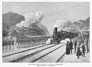 Drawing of steam engine and train approaching station with an honor guard at attention