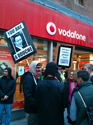 Protestors outside Vodafone shop.