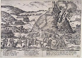 A castle stands at the top of a steep hill, and its walls are being blown away in explosion and fire. The fortress is surrounded by mounted and foot soldiers, and several units of mounted soldiers are racing up the hill toward the castle on its peak. Frans Hogenberg, a Dutch engraver and artist of the 16th century, was living in the Electorate of Cologne during the war, and engraved this picture of the destruction of the Godesburg (fortress).