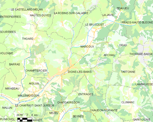 elementary Map showing the boundaries of the town, neighboring communities, vegetation zones and roads
