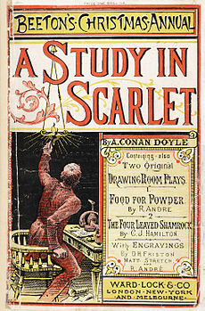 Magazine cover featuring A Study in Scarlet, with drawing of a man lighting a lamp