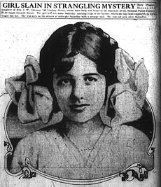 "A portrait of Mary Phagan in the pages of a newspaper. A caption above her says ""Girl Slain in Strangling Mystery""."