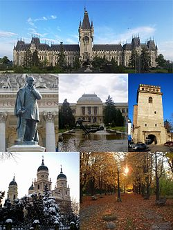 From top left: Palace of Culture, Vasile Alecsandri Statue in front of the National Theatre, Alexandru Ioan Cuza University, Golia Tower, Metropolitan Cathedral, and the Botanical Garden