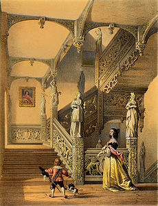 A monochrome lithograph of a grand wooden staircase