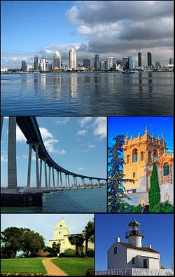 Images from top, left to right: San Diego Skyline, Coronado Bridge, museum in Balboa Park, Serra Museum in Presidio Park and the Old Point Loma lighthouse